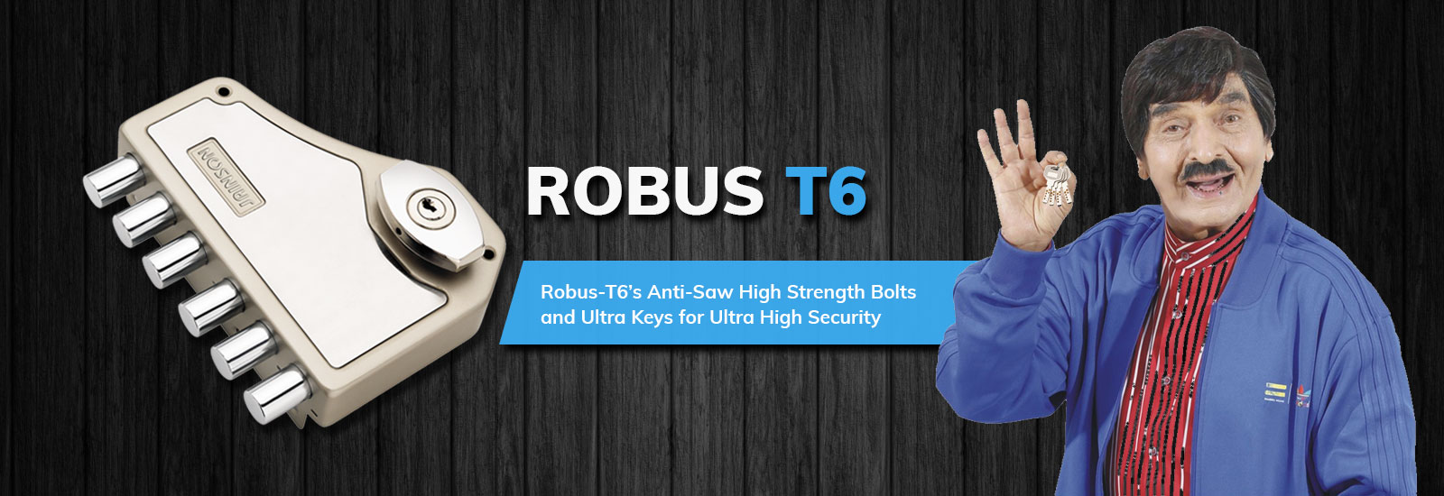 Jainson Locks Home Page Banner - Robus T6 Lock With 6 Sturdy Double Stroke Dead Bolts, With Inside Locking CYlinder