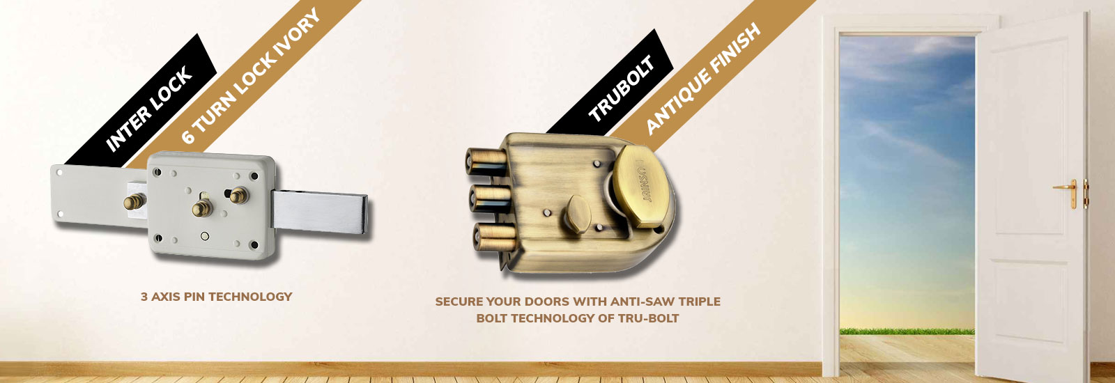 Jainson Locks Home Page Banner - Main Door Locks - Inter Lock Square and Trubolt Locks for Main Door